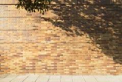 Pared de ladrillos con la sombra y la acera del árbol Fotografía de archivo libre de regalías