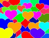 Pared de ladrillos de los corazones Imagen de archivo