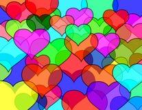 Pared de ladrillos de los corazones Foto de archivo libre de regalías