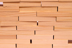 Pared de ladrillos de madera Imágenes de archivo libres de regalías