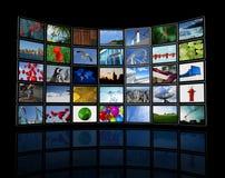 Pared de las pantallas planas de la TV Fotografía de archivo