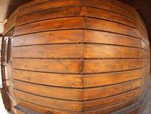 Pared de los tableros de madera con la opinión granangular del fisheye Foto de archivo