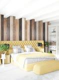 Pared de madera mínima del diseño interior del dormitorio, sofá amarillo representación 3d ilustración 3D Imagen de archivo