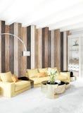 Pared de madera mínima del diseño interior del dormitorio, sofá amarillo representación 3d ilustración 3D Fotografía de archivo