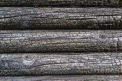 Pared de madera quemada de la casa Imagen de archivo libre de regalías