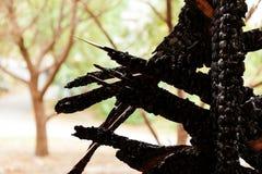 Pared de madera rota quemada Foto de archivo libre de regalías