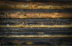 Pared de madera vieja de los registros para el fondo Fotos de archivo