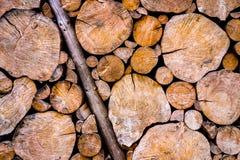 Pared de madera vieja y gastada de los registros Imagen de archivo libre de regalías