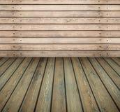 Pared de madera y piso del sitio vacío Imagen de archivo libre de regalías