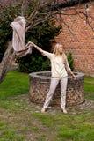 Pared de piedra del ladrillo del árbol de la fan de la muchacha bien, Groot Begijnhof, Lovaina, Bélgica imágenes de archivo libres de regalías