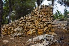 Pared de piedra en el parque fotografía de archivo