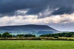 Pared de piedra en la granja con la colina de Pendle en distancia en tarde nublada del verano Fotos de archivo libres de regalías