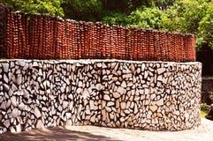 Pared de piedra de la roca, Chandigarh la India Imagen de archivo
