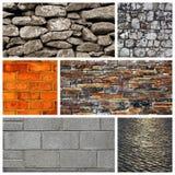 Pared de piedra, pared de ladrillo y un pavimento Imagen de archivo libre de regalías