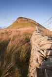 Pared de piedra que lleva a Pluma-y-Gante en los valles de Yorkshire nacionales Fotografía de archivo