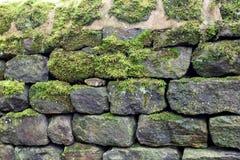 Pared de piedra seca con el musgo foto de archivo libre de regalías