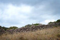 Pared de piedra seca, isla de Krk, Croacia Fotografía de archivo