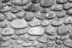 Pared de piedras en negro un blanco Fotografía de archivo