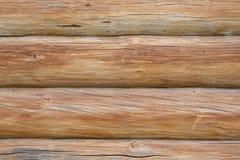 Pared de registros de madera Foto de archivo libre de regalías