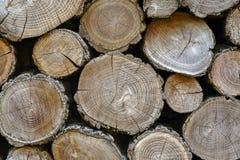Pared de registros de madera viejos con los extremos agrietados fotografía de archivo