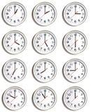 Pared de relojes imágenes de archivo libres de regalías