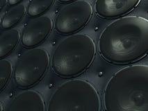 Pared de sonidos: altavoces negros sobre el modelo de cuero imagenes de archivo