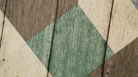 Pared de tablones de madera con el modelo geométrico Rotación del fondo para su texto almacen de video