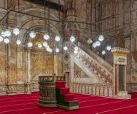 Pared del alabastro con el lugar grabado y plataforma en la mezquita de Muhammad Ali Alabaster Mosque, ciudadela de El Cairo en E imágenes de archivo libres de regalías