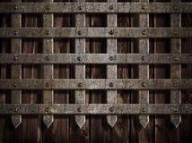 Pared del castillo o puerta medieval del metal Imagen de archivo