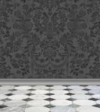 Pared del damasco y piso grises del mármol ilustración del vector