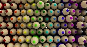 Pared del fondo coloreado de la pendiente de los lápices Fotografía de archivo libre de regalías