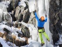 Pared del hielo del escalador que sube en montain Imagenes de archivo