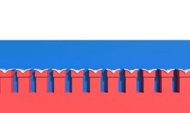 Pared del Kremlin bandera en el fondo 3d rinden la ilustración Imagen de archivo libre de regalías