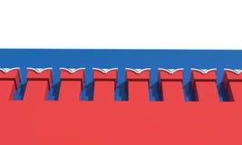 Pared del Kremlin bandera en el fondo 3d rinden la ilustración Fotos de archivo libres de regalías