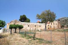 Pared del monasterio de Gouverneto 1537 en la isla de Cret Fotos de archivo