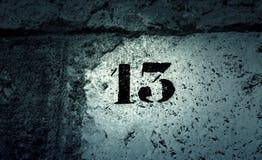Pared del número trece Imágenes de archivo libres de regalías