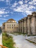 Pared del oeste de la biblioteca de Hadrian, Atenas Fotografía de archivo libre de regalías