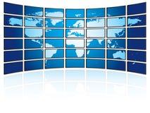 Pared del plasma de la TV con la correspondencia de mundo