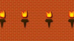 Pared del rojo de ladrillo con la quema de antorchas brillantes en el estilo de la historieta, contexto de la representación 3d,  libre illustration