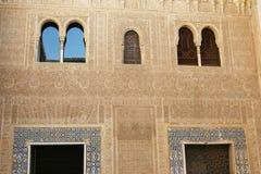 Pared detallada hermosa en Alhambra Imágenes de archivo libres de regalías