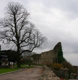 Pared enorme que protege la ruina del castillo de Rochester, apenas exterior Londres, Inglaterra Reino Unido Foto de archivo