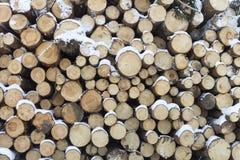 Pared hecha de la madera apilada Fotografía de archivo