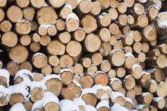 Pared hecha de la madera apilada Fotos de archivo libres de regalías