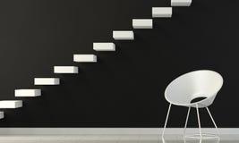 Pared interior blanco y negro con la silla y la escalera Foto de archivo libre de regalías