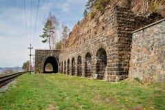Pared italiana al ferrocarril de Circum-Baikal Fotos de archivo