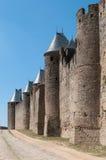 Pared medieval con las torres, Carcasona, Francia Fotografía de archivo libre de regalías