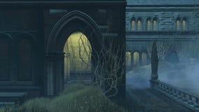 Pared medieval con los portales en la noche brumosa stock de ilustración