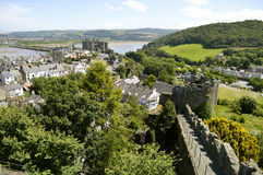 Pared medieval de la ciudad de Conwy Foto de archivo