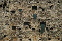 Pared medieval del castillo Imagenes de archivo