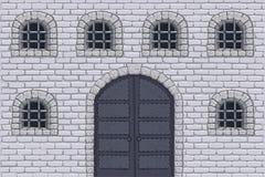 Pared medieval del castillo con las puertas y las ventanas barradas Bosquejo drenado mano Imagenes de archivo